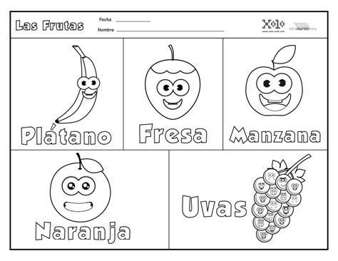 Frutas en español para colorear y para imprimir en PDF 2020