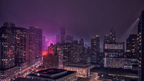 Full HD Wallpaper new york illumination violet megapolis ...