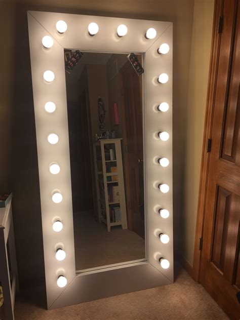 Full Length Vanity/ Selfie Mirror with Lights   IKEA Hackers