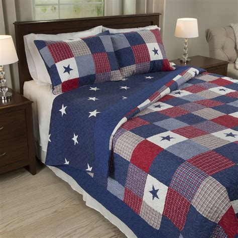 Full Queen Size Americana Bedding Stars 3 pc Quilt Set Red ...
