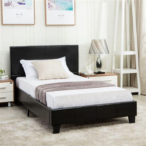 Full Size Faux Leather Platform Bed Frame & Slats ...