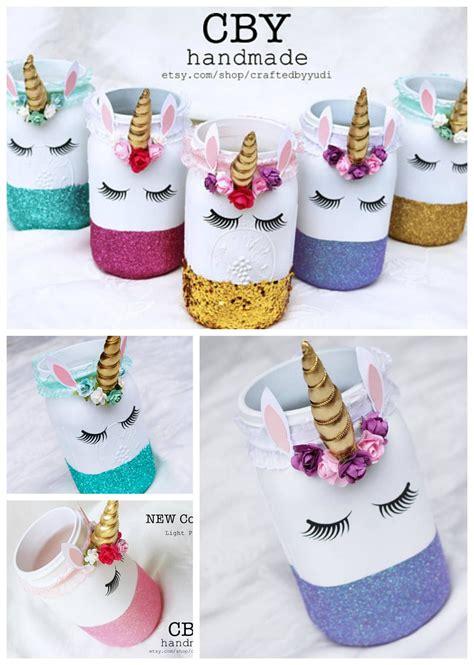 Fun unicorn mason jars! You can use them for storing ...