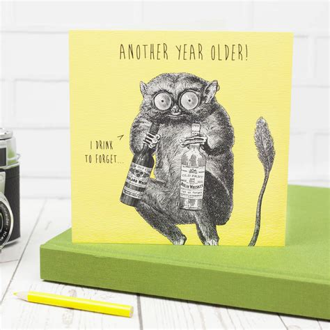 funny birthday card  terrified tarsier  by bird brain ...