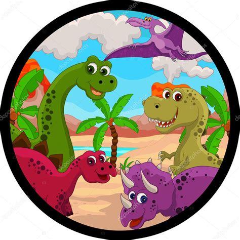 Funny dinosaur cartoon set — Stock Vector  starlight789 ...