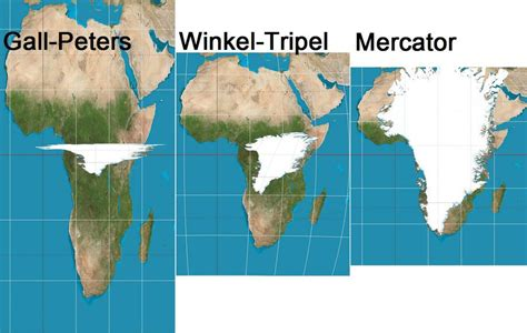 Gall Peters vs. Winkel vs. Mercator. Details in comments ...