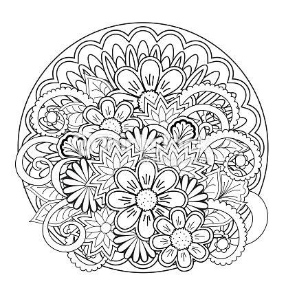 Gekritzel Bündel Blumen Und Mandalas Vektorgrafik   Thinkstock