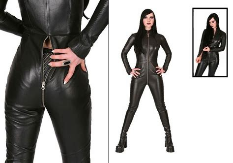Genuine Leather Women Catsuit Zippered suit Hot fitted ...