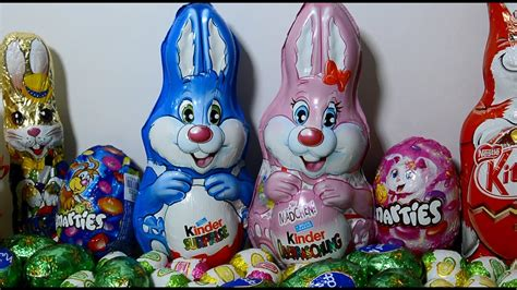 Giant Kinder Easter Bunny Surprise Egg opening with many ...