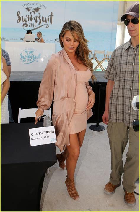 Gigi Hadid Rubs Chrissy Teigen s Baby Bump at  Sports ...