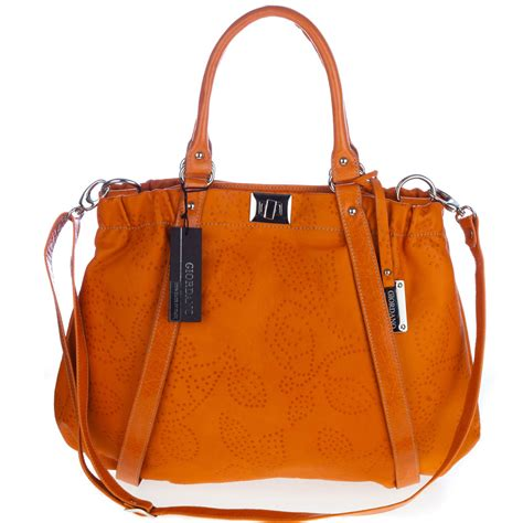 Giordano Italian Made Orange Flower Embossed Leather Large ...