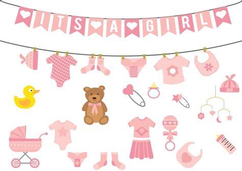Girl baby shower elements Vector | Premium Download