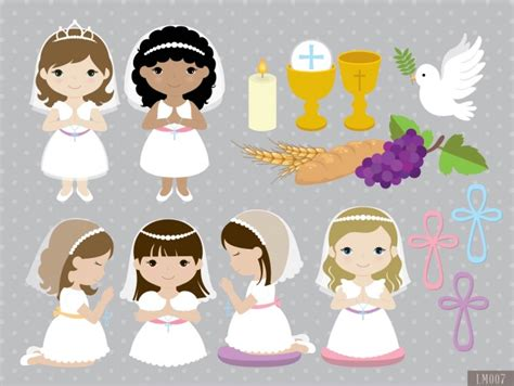 Girl First Communion Digital Clipart and Papers   Meylah