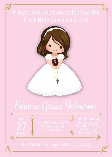 Girl First Communion Invites, Floral First Communion ...