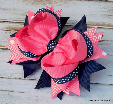 Girls hair bows Navy blue Pink Hair bows Stacked Hair Bow Big