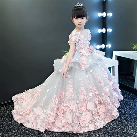 Girls Party Dresses Elegant 2019 Summer Short sleeve ...