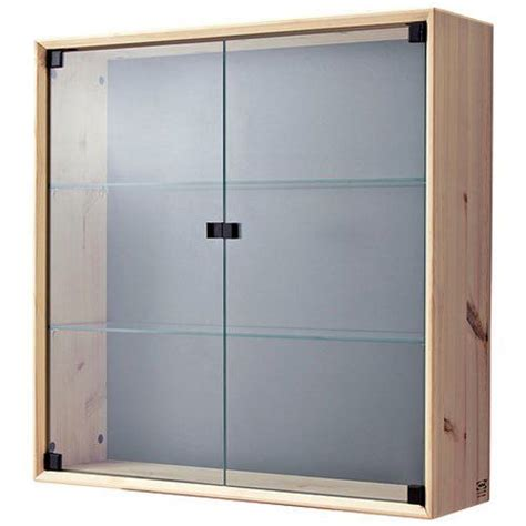 Glass Door Curio Display Cabinet Wall Mount with Solid ...