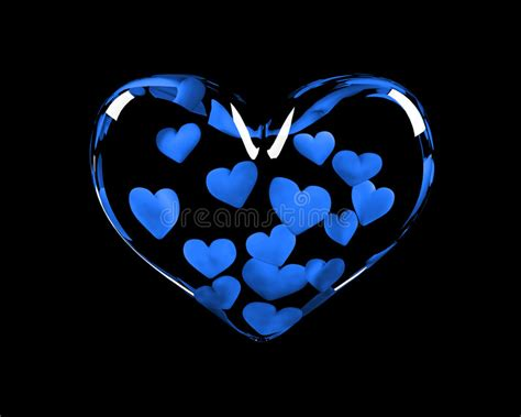 Glass Heart With 14 Blue Hearts Inside Stock Illustration ...