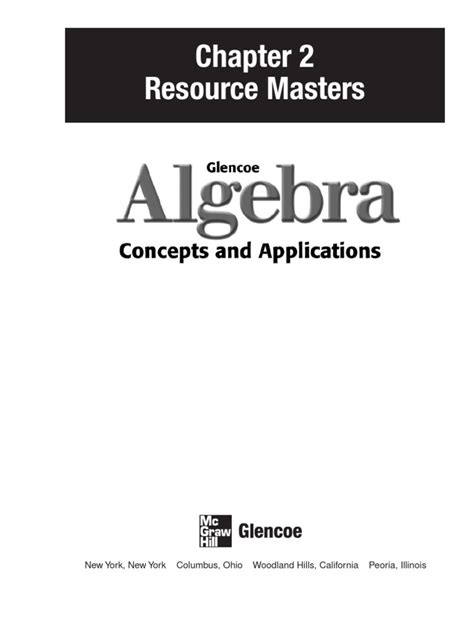 Glencoe Algebra, chapter 2 | Cartesian Coordinate System