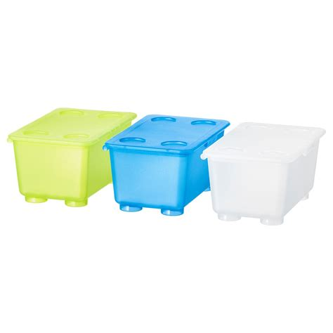 GLIS Box with lid White/light green/blue 17 x 10 cm   IKEA