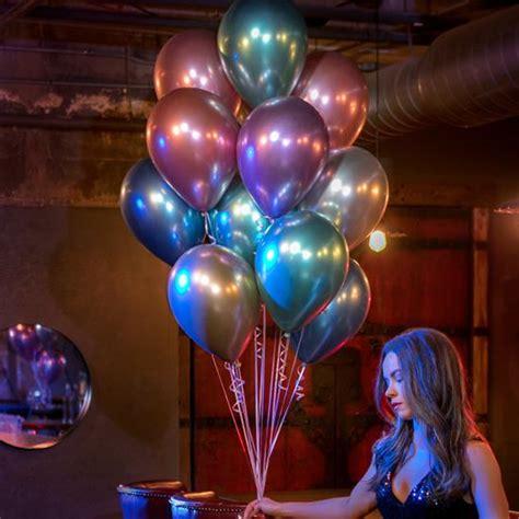 Globo Chrome Azul  30 cm   Con helio + $35