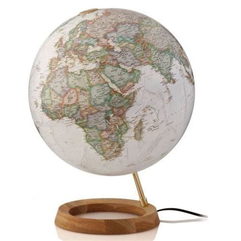 Globo terráqueo. Esfera sepia, arce y aluminio, 30 cm ...