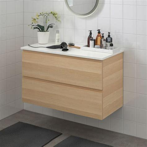 GODMORGON / TOLKEN Meuble lavabo 2tir, effet chêne blanchi ...