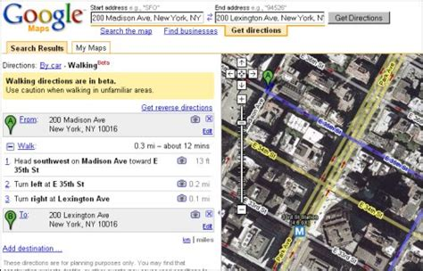 Google Maps Walking Directions Live