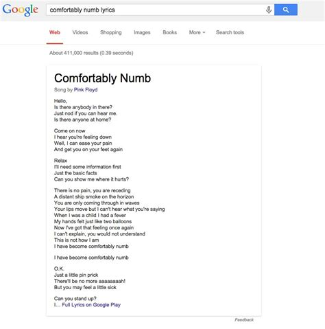 Google Song Lyrics In Search   Business Insider