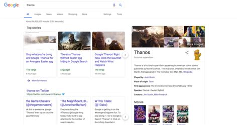 Google Thanos Easter Egg Wipes Out Half of All Search ...
