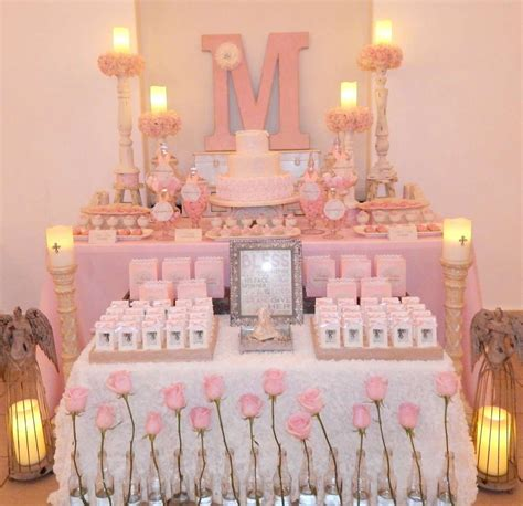 Gorgeous pink First Communion party! See more party ...
