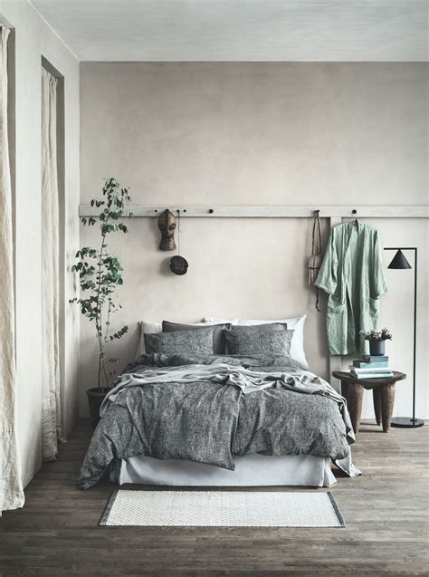 Gorgeous, suede textured bed cover, gray wood floors, soft ...