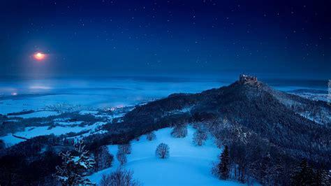 Góry, Zima, Noc, Zamek, Hohenzollern
