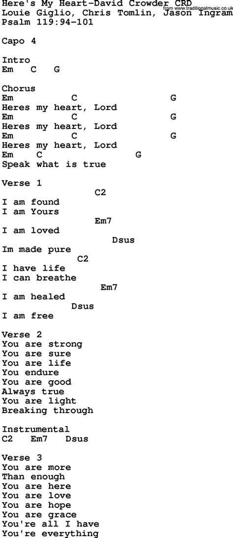 Gospel Song: Here s My Heart David Crowder, lyrics and ...