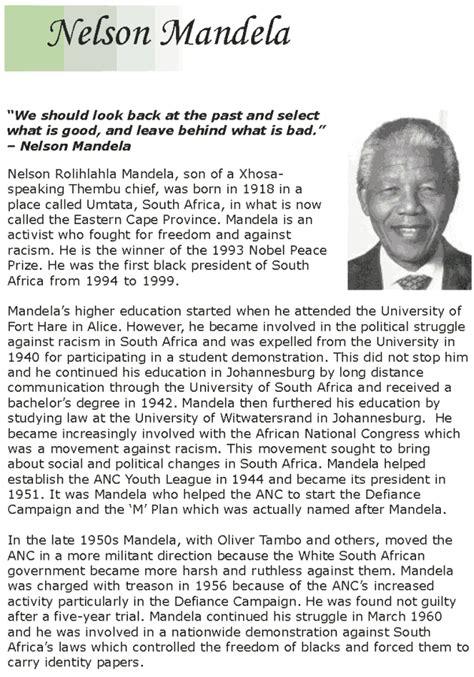 Grade 7 Reading Lesson 14 Biographies – Nelson Mandela ...