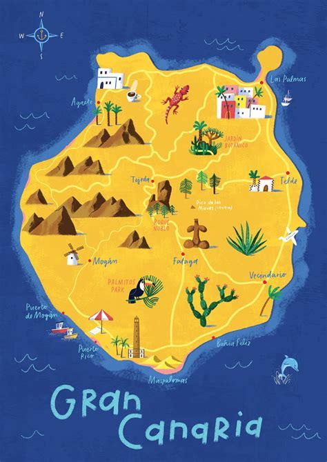 Gran Canaria map, illustrated map, Las Palmas, Canary ...