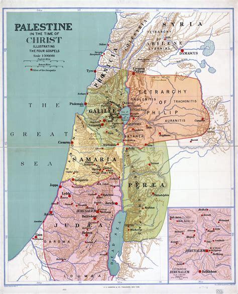 Grande detallado antiguo mapa de Palestina en la época de ...