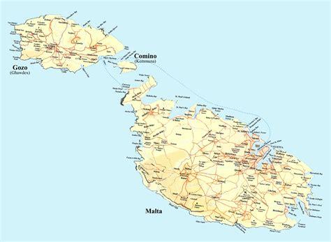 Grande hoja de ruta de Malta con alivio | Malta | Europa ...