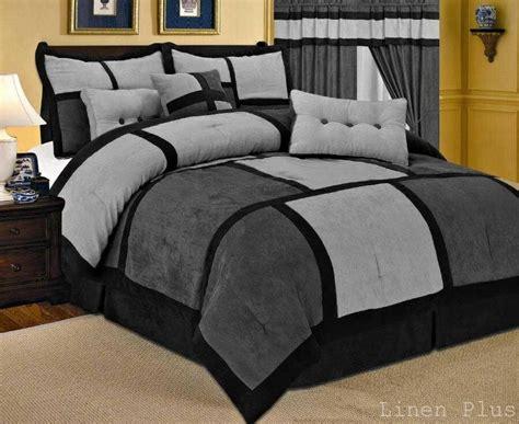 Gray Black Micro Suede Comforter Set Queen Size New 7 ...