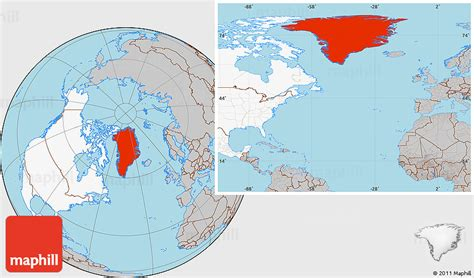 Gray Location Map of Greenland, highlighted continent