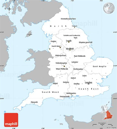 Gray Simple Map of England, single color outside