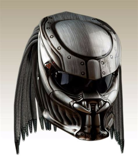 Great the silver color predator helmet motorcycle dot ...