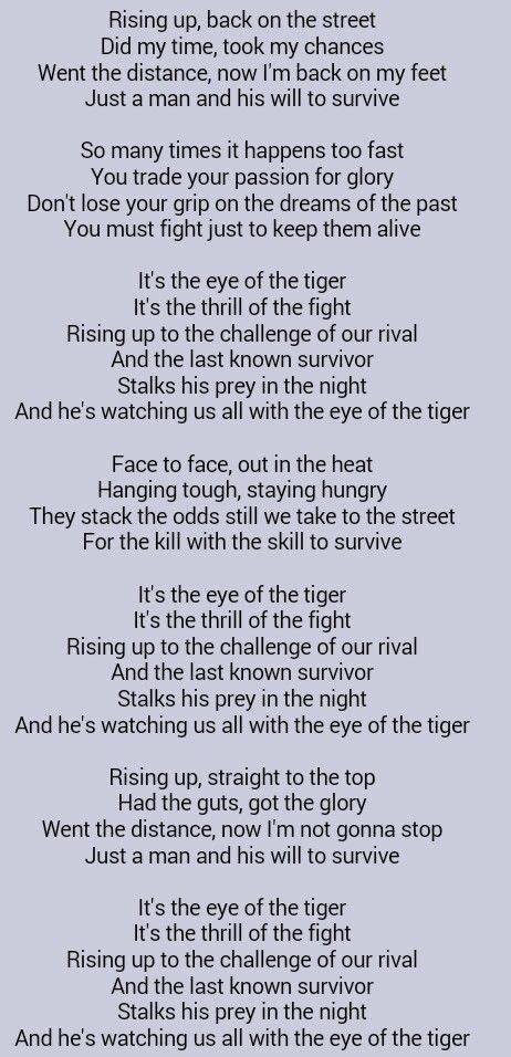 Greatest Song Ever ..... Survivor . Eye of the Tiger ...
