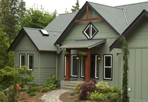 Green Exterior Paint Exterior Rustic with Black Trim Green ...