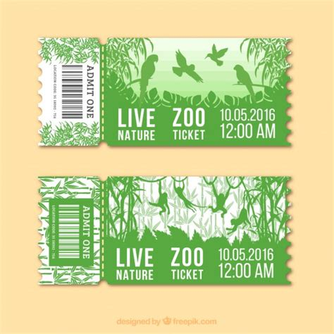 Green zoo tickets with birds and monkeys Vector   Free ...