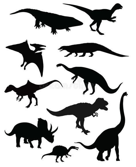 Group Of Ten Dinosaurs Isolated Stock Vector ...