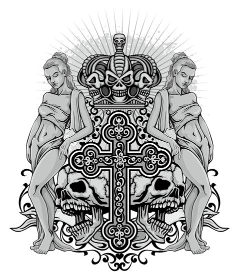 grunge skull coat of arms with sexy girl   Download Free ...
