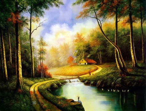 [GTT] Red Tree , Beautiful Nutral Landscape Picture Oil ...