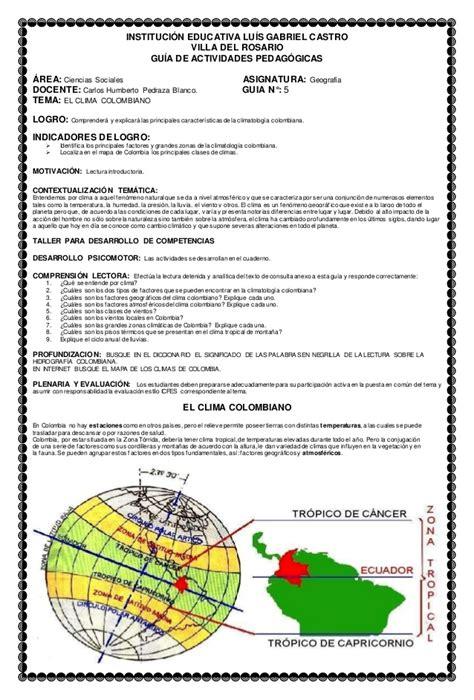Guia 5 el clima colombiano ciencias sociales 9° colcastro2014