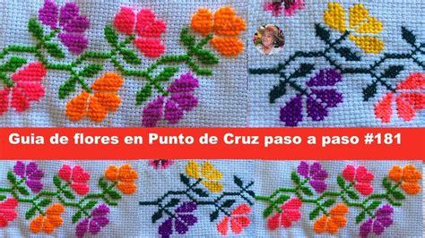 Guia de flores en Punto de Cruz Paso a paso #181   YouTube