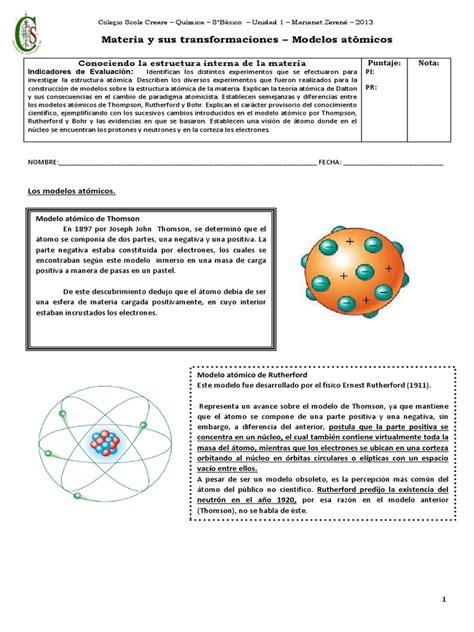 guia N°3 modelos atomicos | Átomos | Núcleo atómico